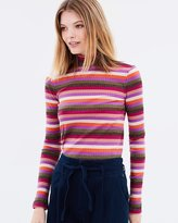 Maison Scotch Striped Long Sleeve Ribbed Turtleneck