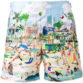 Orlebar Brown beach print Bulldog swim shorts