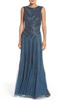 Aidan Mattox Women's Beaded Mesh Gown