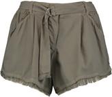 Splendid Fringed twill shorts