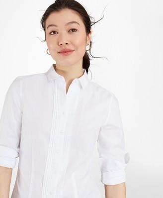 Brooks Brothers Petite Tailored-Fit Non-Iron Dobby-Stripe Cotton Tuxedo Shirt