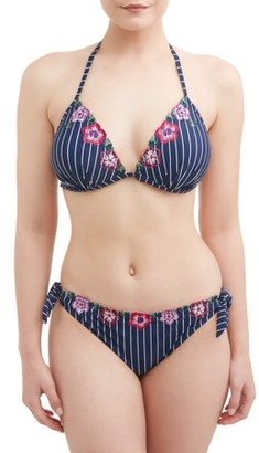 Time and Tru Women's Stripe and Floral Molded Cup Swimsuit Top