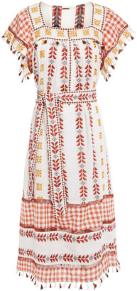 Dodo Bar Or Broderie Anglaise-trimmed Embroidered Cotton-gauze Midi Dress