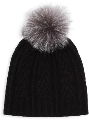 Amicale Cashmere Fox Fur Pom-Pom Beanie