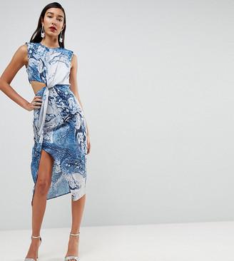 Asos Tall TALL Twist Front Midi Pencil Dress in Abstract Print-Multi