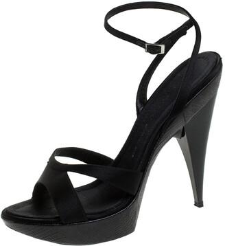 Giuseppe Zanotti Black Satin Platform Ankle Strap Sandals Size 40.5