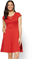 New York & Co. Cotton Crisscross V-neck Fit & Flare Dress