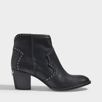 Zadig & Voltaire Molly Studs Ankle Boots In Black Leather