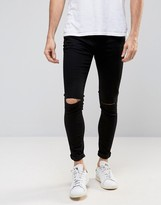 Selected Plus Jeans in Skinny Fit Black Denim With Rip Knee Detail