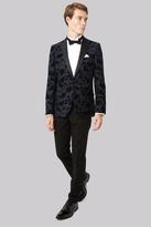 Moss Bros Slim Fit Navy Flocked Tuxedo Jacket