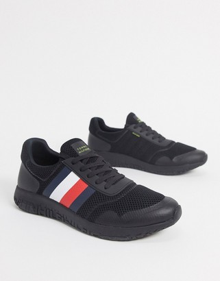 Tommy Hilfiger corporate stripe lightweight knit runners in black
