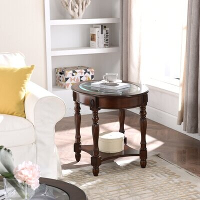 Thumbnail for your product : World Menagerie Retro Oval Tempered Glass End Table