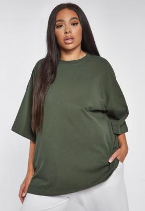 Missguided Plus Size Khaki Drop Shoulder T Shirt