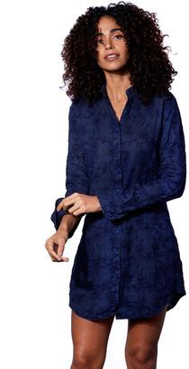 MC2 Saint Barth Blue Flower Embroidered Linen Shirt Dress