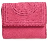 Tory Burch Women's Mini Fleming Snake Embossed Leather Wallet - Pink