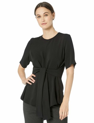 Nine West Women's Plus Size Short Sleeve Jewel Neck Blouse with TIE Belt