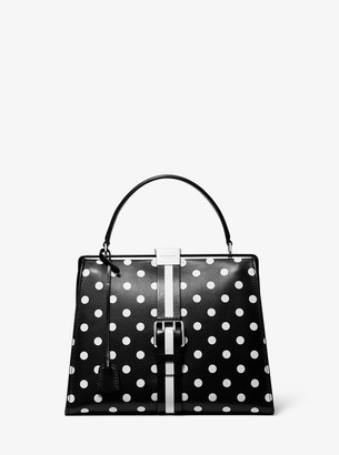 Michael Kors Simone Polka Dot Calf Leather Belted Top-Handle Bag