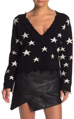 Wild Honey Distressed Star V-Neck Sweater