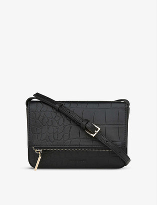 Whistles Luca crocodile-embossed leather cross-body bag