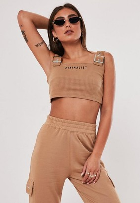 Missguided Jordan Lipscombe X Camel Ribbed Graphic Buckle Strap Top