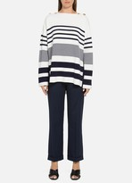 St. John Bold Engineered Stripe Knit Sweater