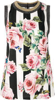 Dolce & Gabbana striped rose print tank top