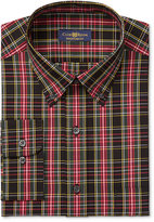 Club Room Estate Men's Classic-Fit Wrinkle Resistant Big & Tall Black Oversize Tartan Dress Shirt, Created for Macy's