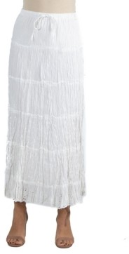 24seven Comfort Apparel Bohemian Style Embroidered Maxi Skirt with Drawstring