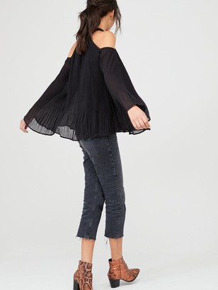 Very Cold Shoulder Long Sleeve Pleated Blouse - Black
