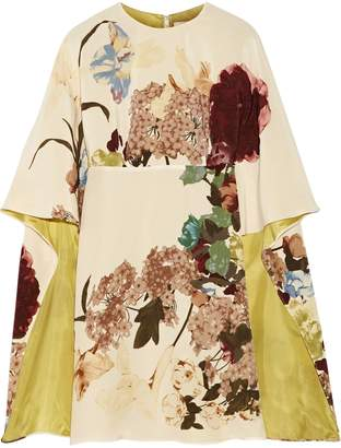 Valentino Cape-effect Floral-print Silk-crepe Mini Dress