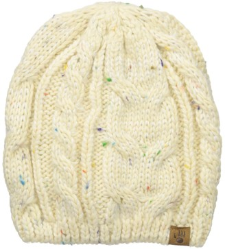 BearPaw Women's Cable Knit Hat with Multicolor Flecked Yarns