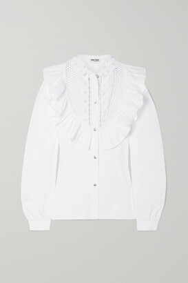 Miu Miu Crystal-embellished Ruffled Cotton-poplin Blouse - White
