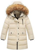 FREE FISHER Kids Puffer Down Jacket Furry Hooded Bubble Coat for Boys Girls 140