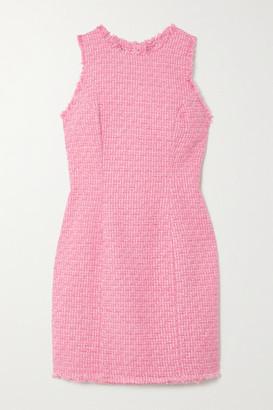 Balmain Frayed Cotton-blend Tweed Mini Dress - Pink