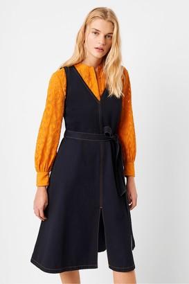 French Connection Pulika Chambray V Neck Belted Denim Dress