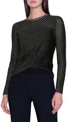 Akris Tweed Jacquard Cashmere & Silk Blend Sweater