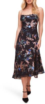 ASTR the Label Gaia Floral Bias Cut Velvet Burnout Midi Dress
