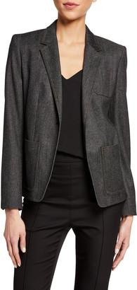 Max Mara Berlina Denim Textured Wool Blazer