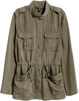 H&M Lyocell Cargo Jacket - Khaki green - Ladies