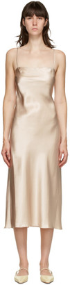 Le Kasha Beige Silk Hotan Mid-Length Dress