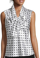BLACK LABEL BY EVAN-PICONE Black Label by Evan-Picone Sleeveless Polka Dot Bow Blouse