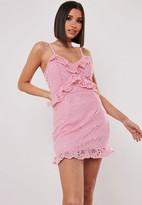 Missguided Petite Pink Lace Cami Ruffle Detail Mini Dress