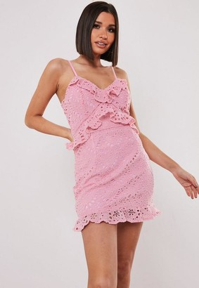 Missguided Pink Lace Cami Ruffle Detail Mini Dress