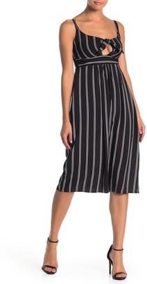 Velvet Torch Striped Tie Front Midi Dress