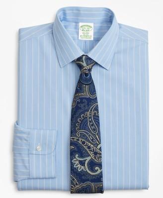 Brooks Brothers Stretch Milano Slim-Fit Dress Shirt, Non-Iron Pinstripe