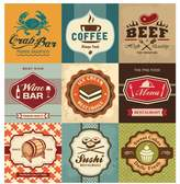 Art.com Set Of Vintage Retro Labels For Food, Coffee, Seafood, Bakery, Restaurant Cafe And Bar Premium Giclee Print By Catherinecml - 76x102 cm