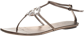 Gucci Metallic Leather Crystals Embellished Thong Flat Sandals Size 41