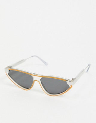 Spitfire Snip angled cat eye sunglasses in clear with orange piping