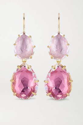 Larkspur & Hawk Caterina Large Double Drop 18-karat Gold-washed White Quartz Earrings - one size