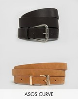 Asos 2 Pack Jeans Belt And Skinny Belt Pack Water Based PU